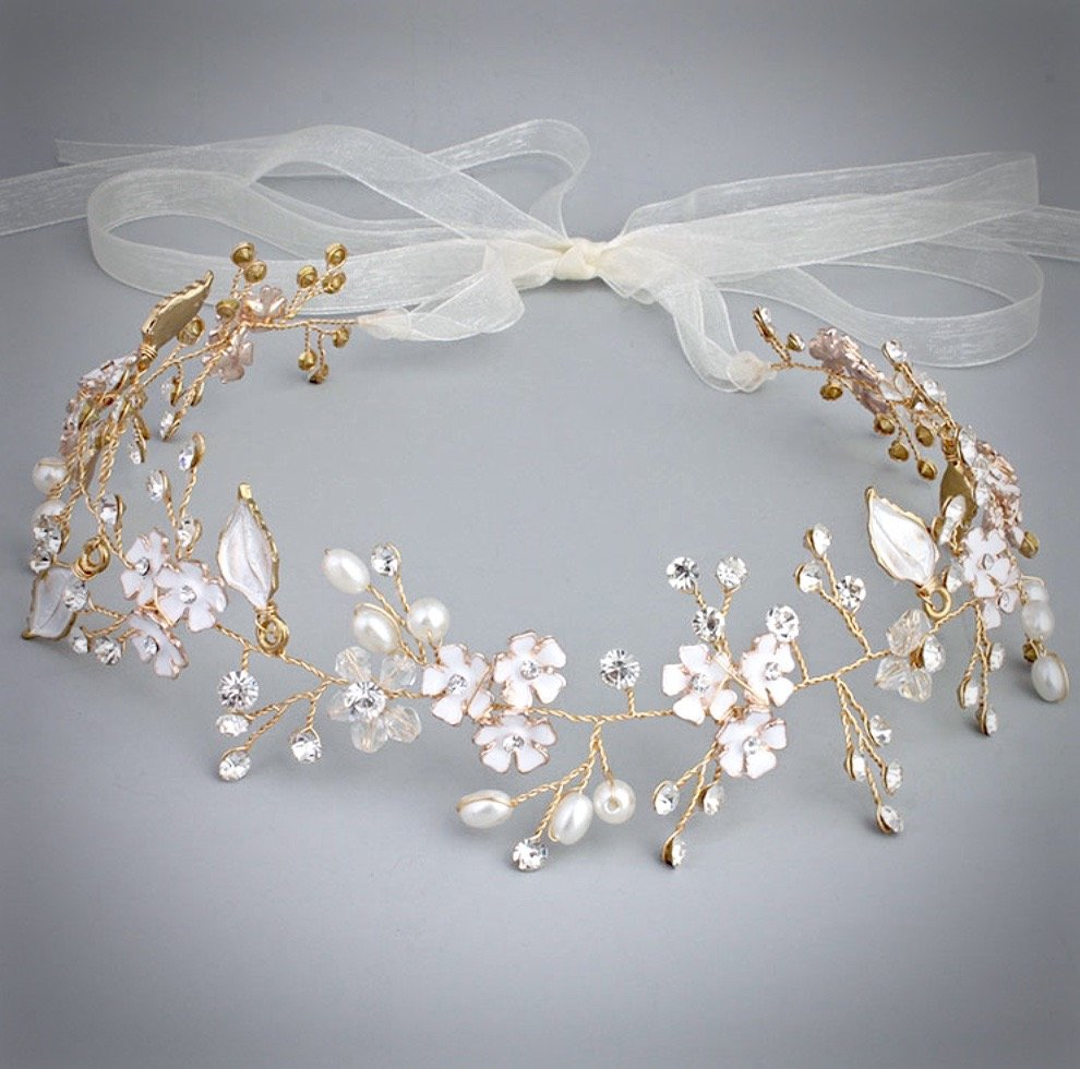 """Angelina"" - Rose Gold Pearl and Crystal Bridal Headband Hair Vine"