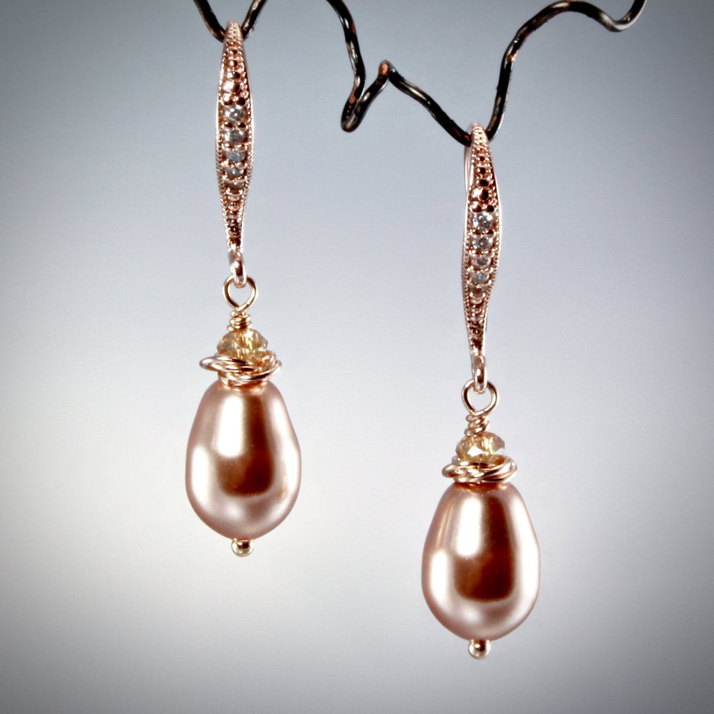 """Shanti"" - Swarovski Pearl and Rose Gold Bridal Earrings"