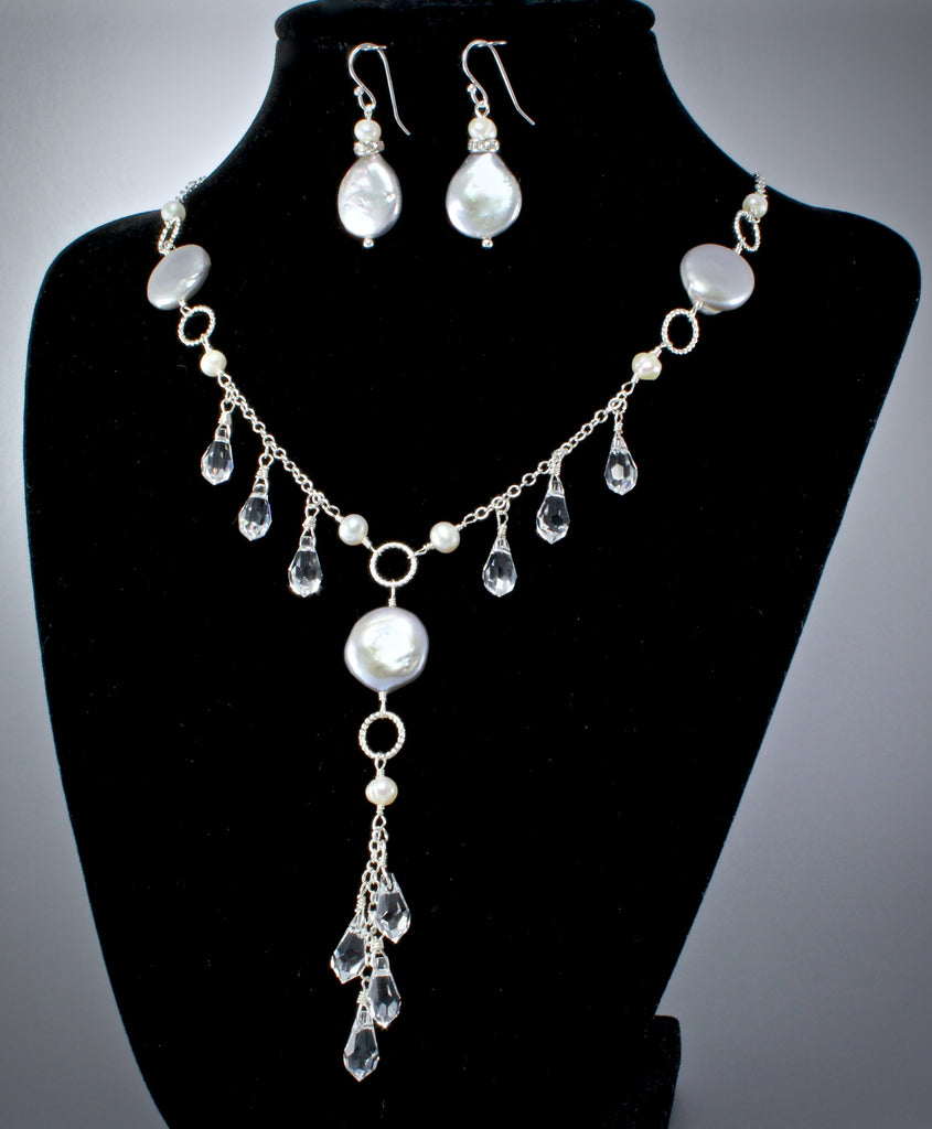 Bridal Earrings and Necklace Sets Swarovski Crystal and Freshwater Pearl