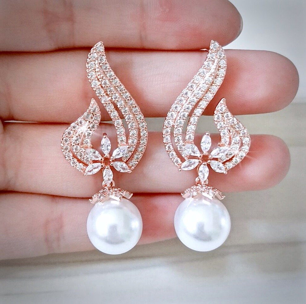 """Lavinia"" - Pearl and Cubic Zirconia Bridal Earrings - Available in Rose Gold and Silver"