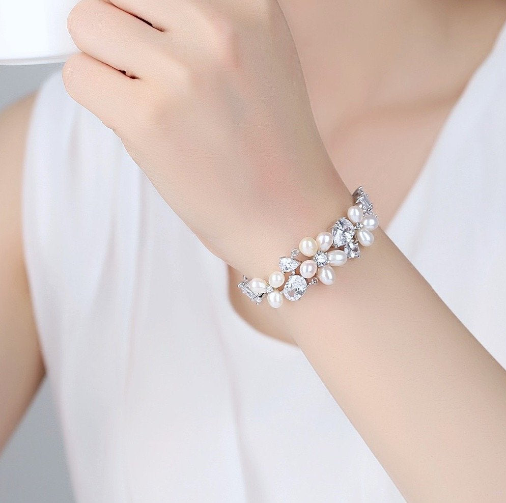 """Eloise"" - Freshwater Pearl and Cubic Zirconia Bridal Bracelet - Available in Rose Gold and Silver"