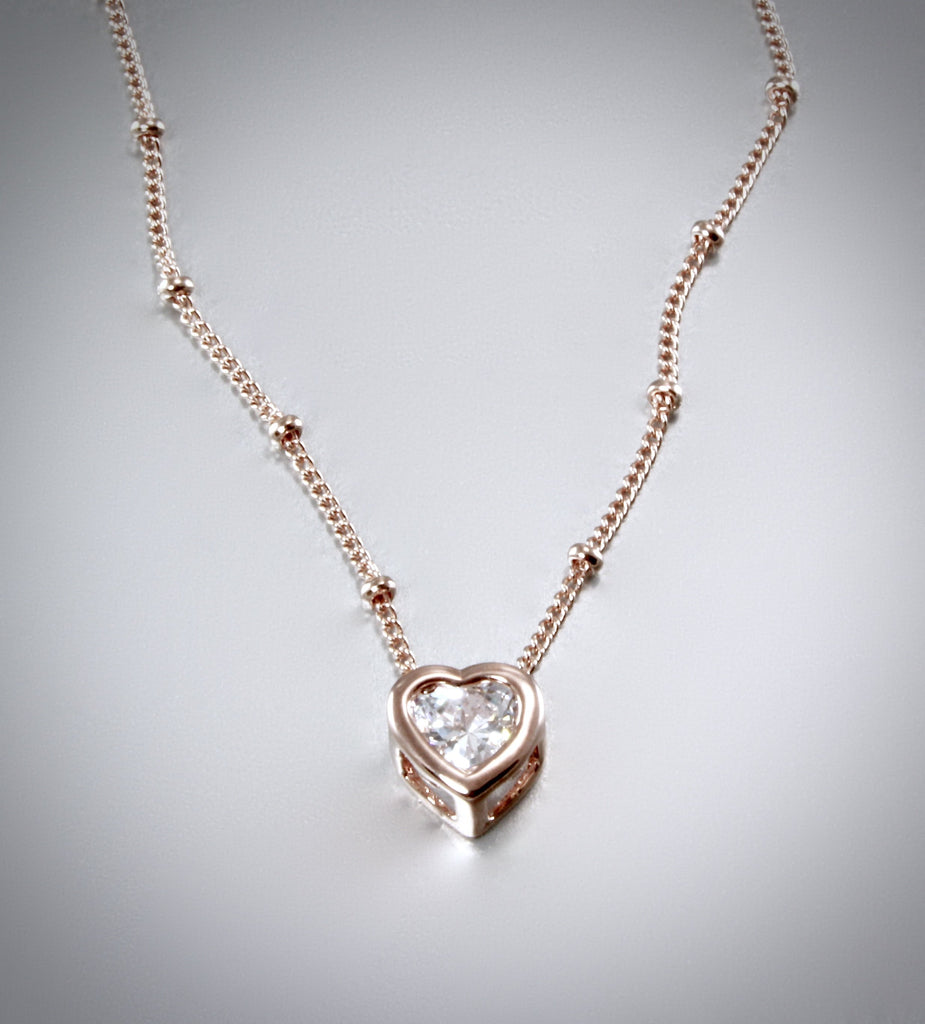 """Amelia"" - Bridal Heart Necklace - Available in Rose Gold, Silver and Yellow Gold"