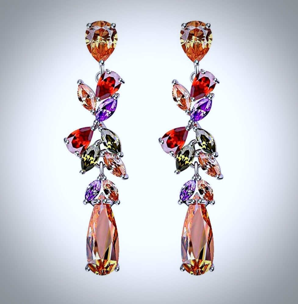 """Eva"" - Pastel Cubic Zirconia Earrings"