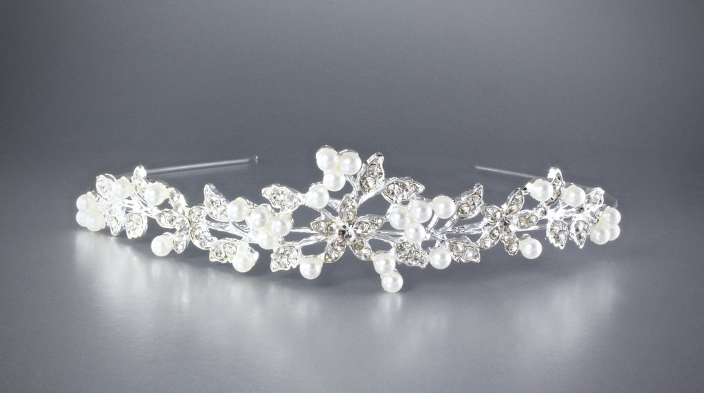 """Paloma"" - Pearl and Crystal Bridal Headband"