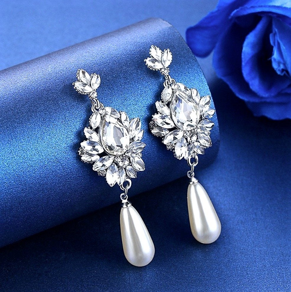Wedding Jewelry - Silver Pearl and Crystal Bridal Earrings