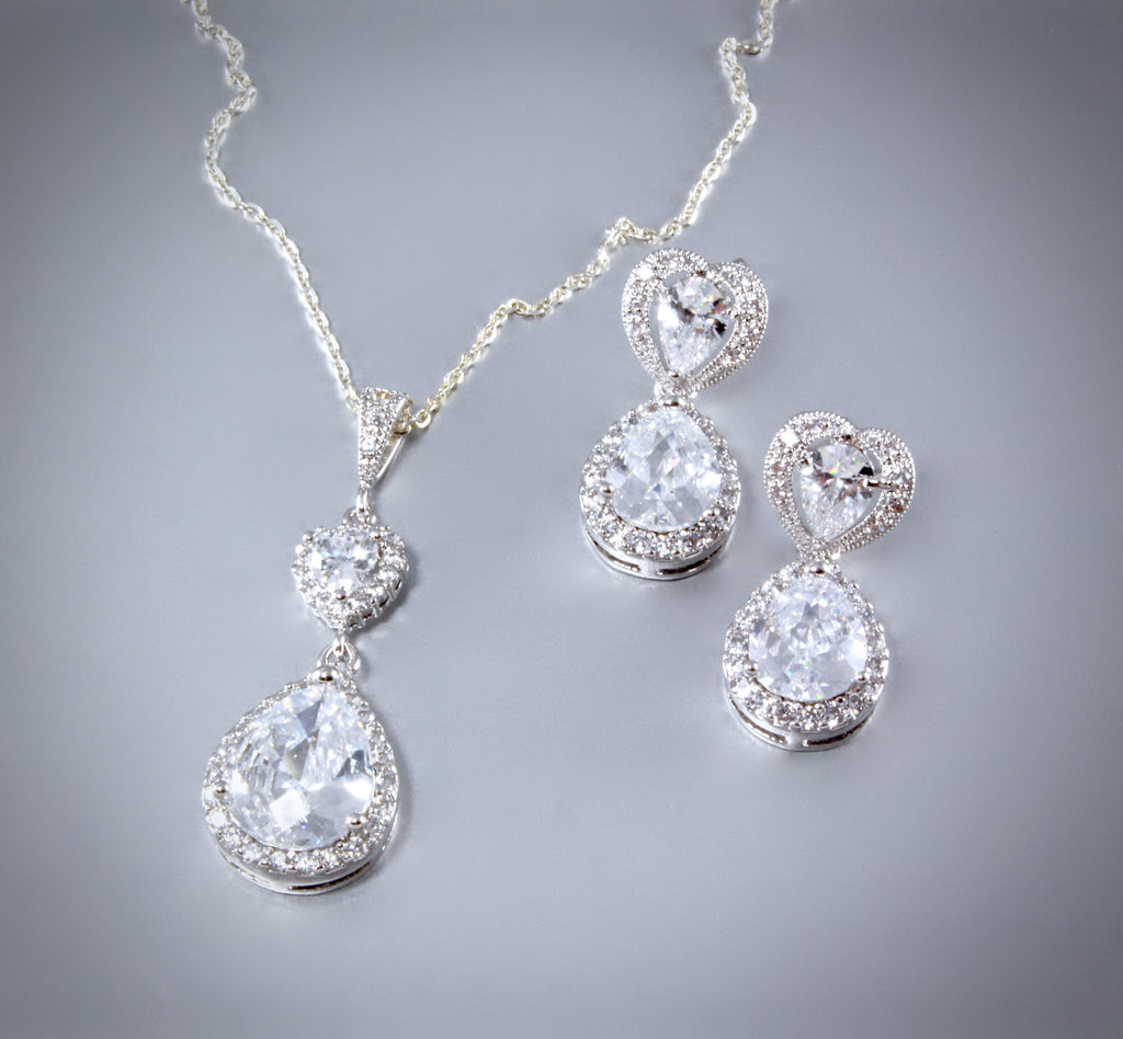 """Beatrice"" - Cubic Zirconia Bridal Necklace and Earrings Set"