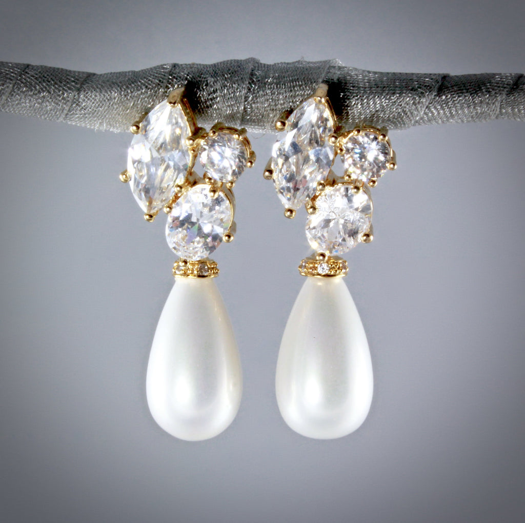 """Alexia"" - Bridal Pearl Drop Earrings - Available in Silver and Gold"