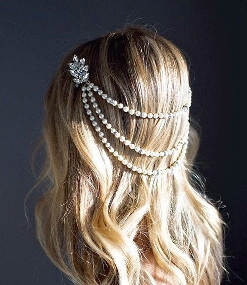 """Caitlyn"" - Silver Pearl and Crystal Bridal Hair Accessory"