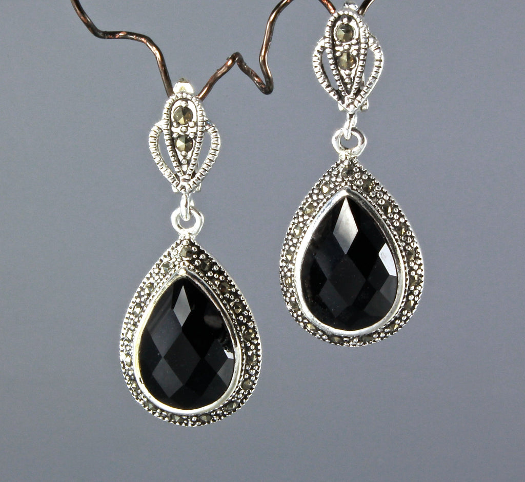 """Dauphine"" - Black Agate, Marcasite, and Sterling Silver Necklace/Earrings/Set"