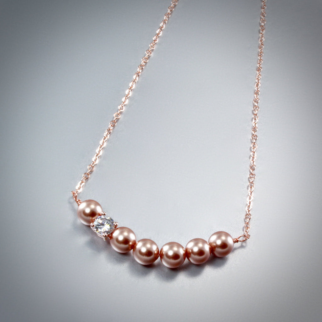 """Prelude"" - Swarovski Pearl and Rose Gold Bridal Necklace"
