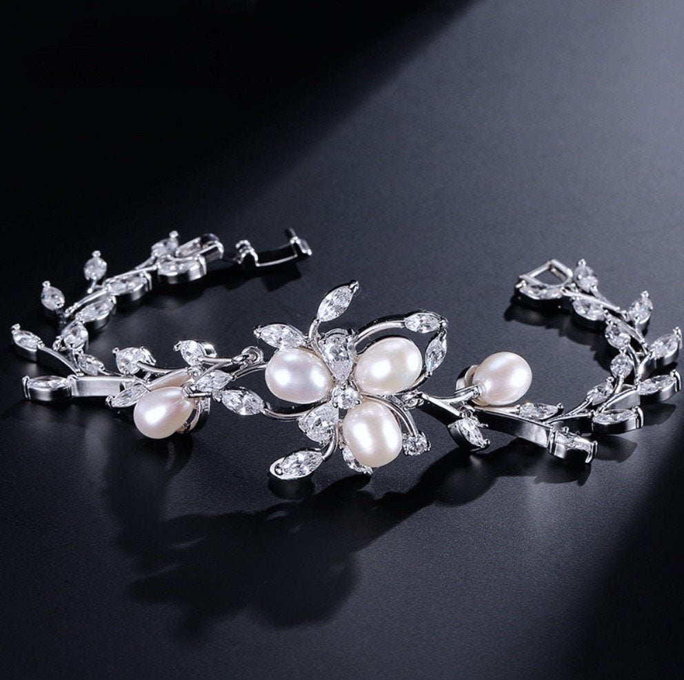 """Anna"" - Freshwater Pearl and Cubic Zirconia Bridal Bracelet"