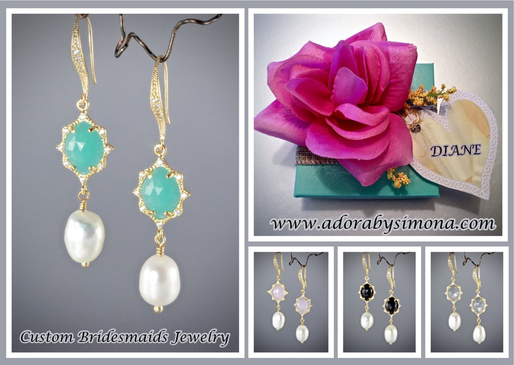 """Robyn"" - Colorful Pearl and Crystal Bridesmaids Earrings"
