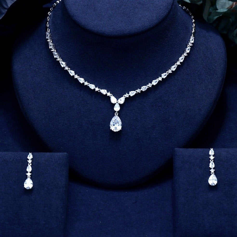 """Colette"" - Silver Cubic Zirconia Bridal Jewelry Set"