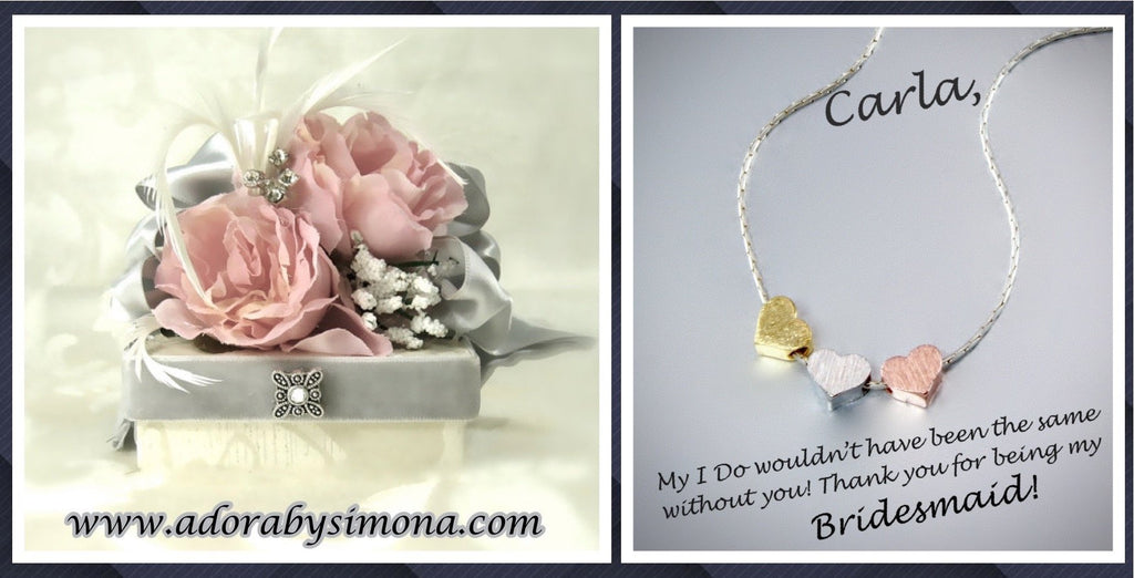 """Viola"" - Mixed Metal Three Hearts Bridesmaids Necklace"