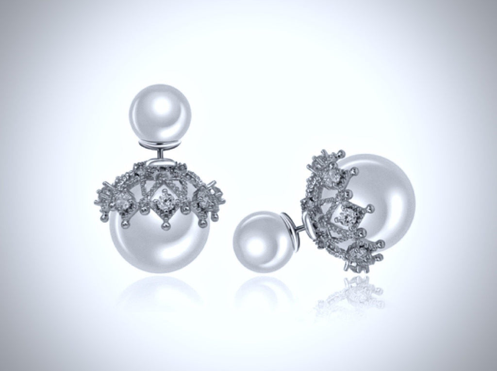 Wedding Jewelry - Double Pearl Bridal Earrings - Available in White and Gray