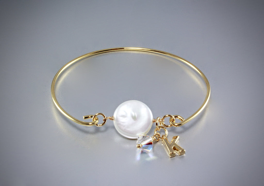 """Audrey"" - Freshwater Pearl and Gold Flower Girl Bracelet"