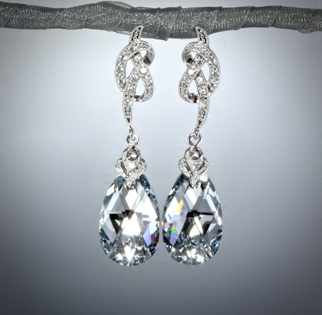 """The Knot"" - Swarovski Crystal Bridal Earrings"