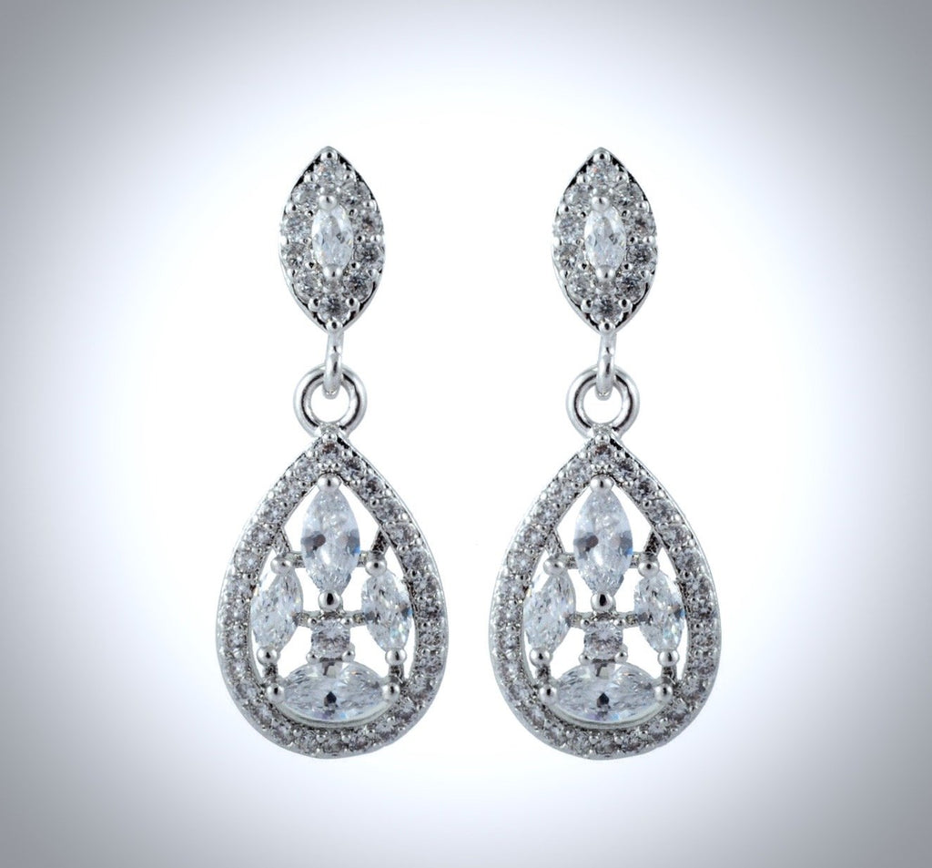 """Kaitlyn"" - Cubic Zirconia Bridal Earrings"