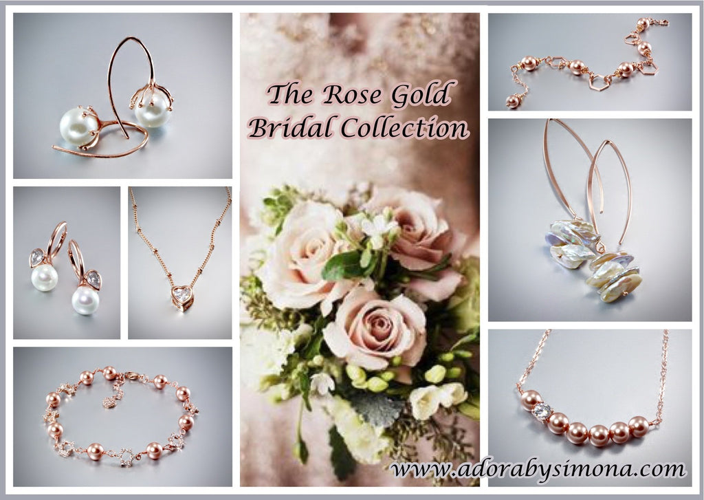 """Madeline"" - Swarovski Pearl and Rose Gold Geometric Bridal Necklace/Earrings/Set"