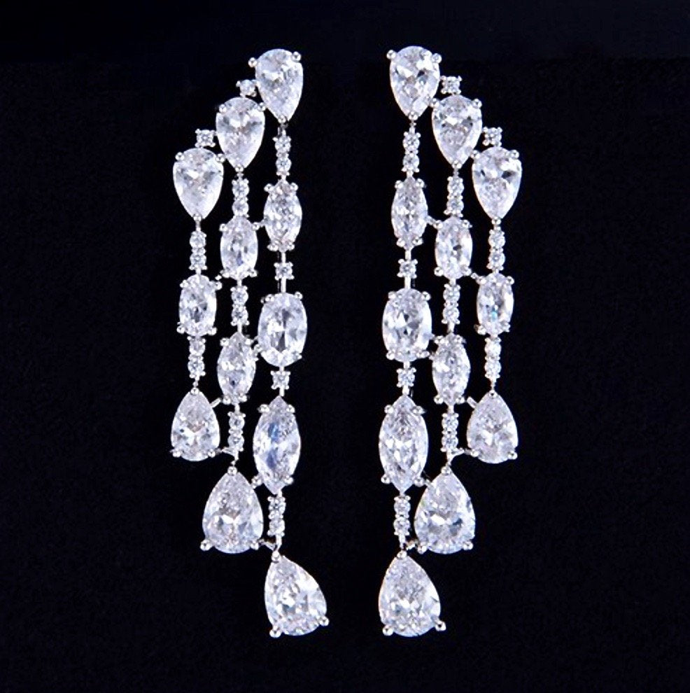 """Julianna"" - Silver Cubic Zirconia Bridal Earrings"