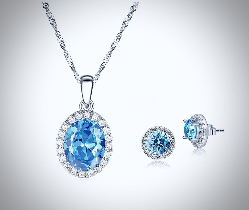 """Lydia"" - Aquamarine Cubic Zirconia Necklace and Earrings Set"