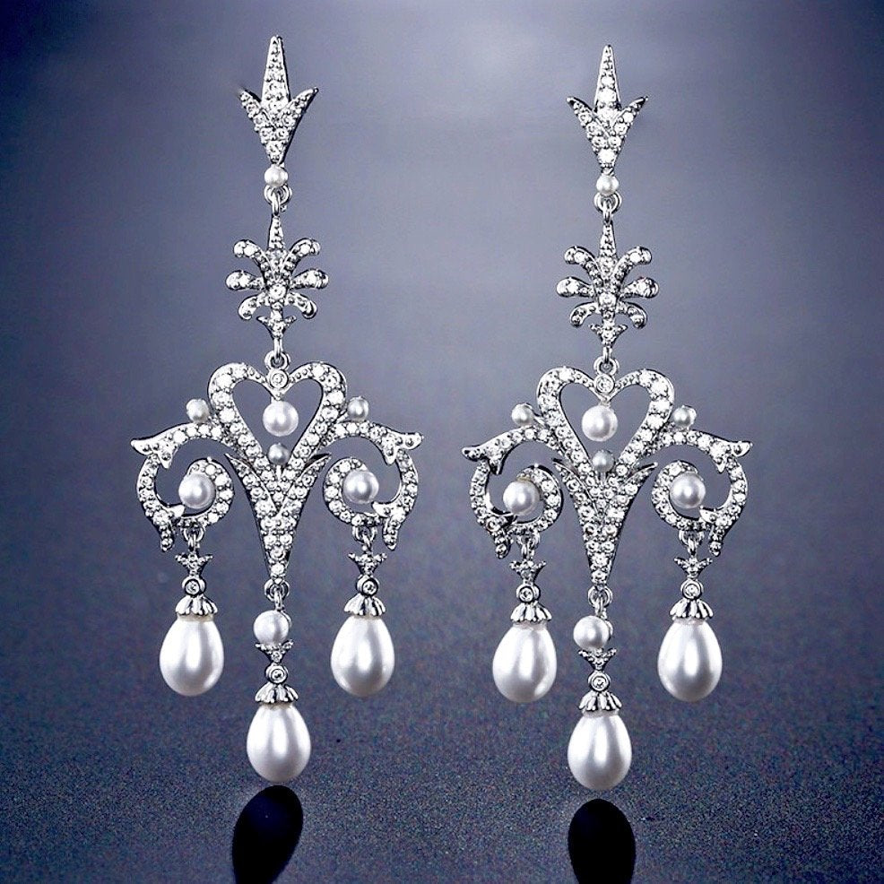 """Kacy"" - Pearl and Cubic Zirconia Bridal Earrings"