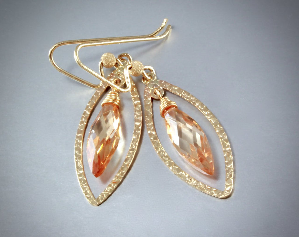 """Diana"" - Cubic Zirconia and 14K Gold-Filled Earrings - More Colors Available"