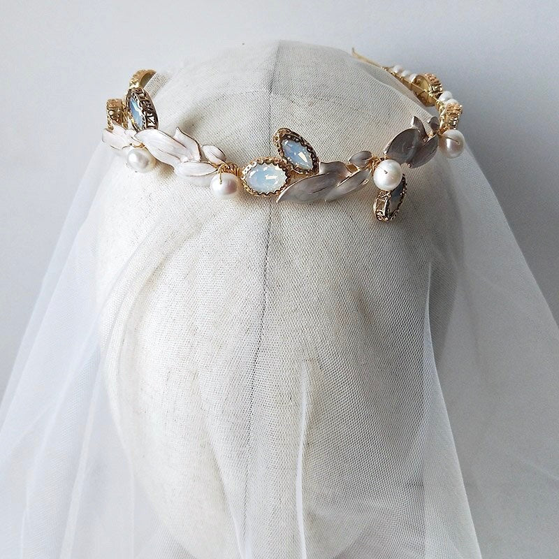Wedding Hair Accessories - Swarovski Opal and Freshwater Pearl Bridal Headband