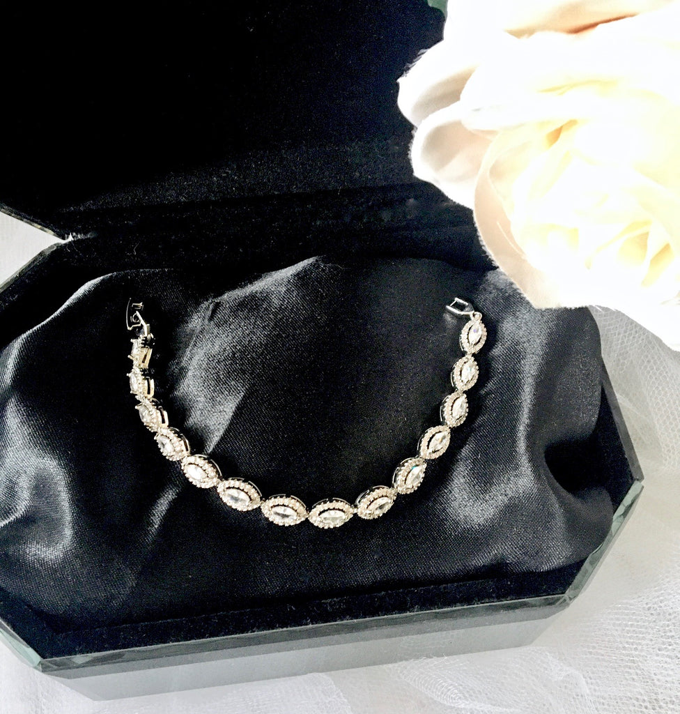 Wedding Jewelry - Silver Cubic Zirconia Bridal Bracelet