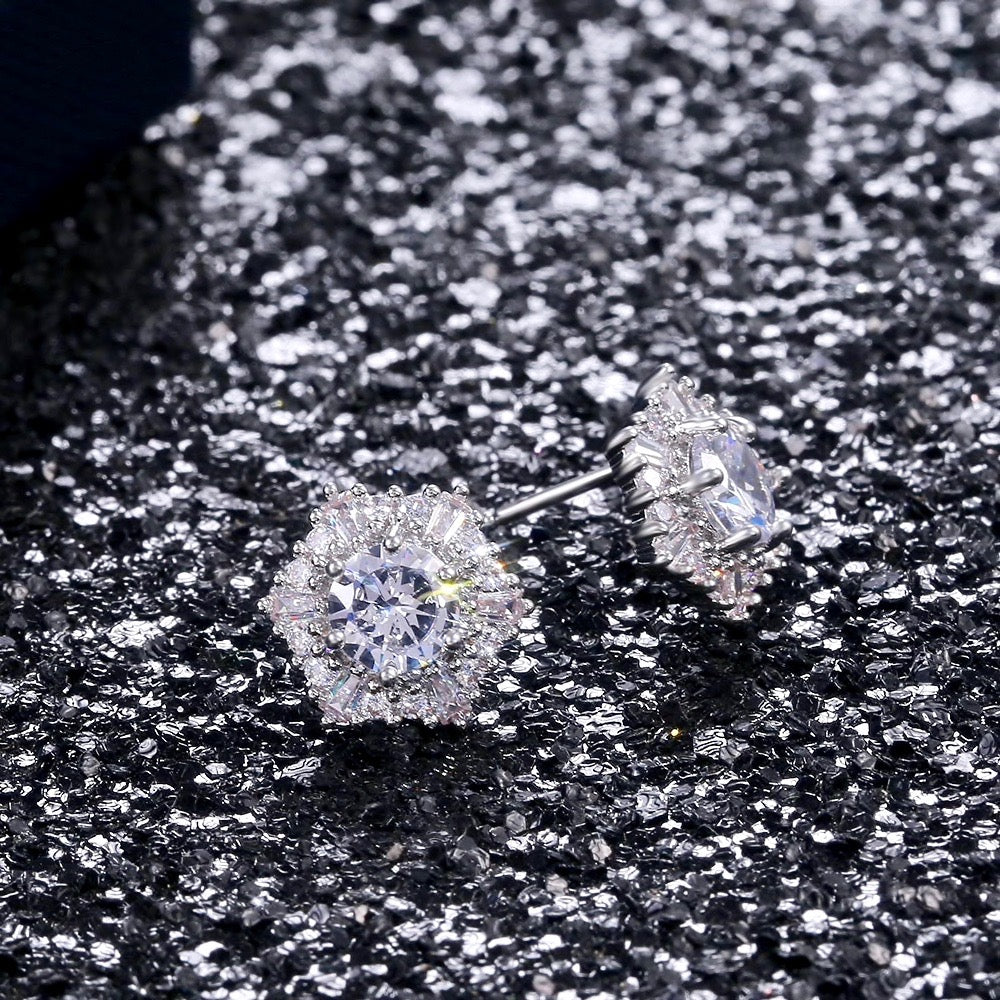 Wedding Jewelry - Cubic Zirconia Bridal Stud Earrings