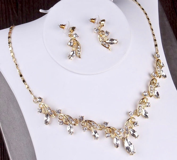 Wedding Jewelry and Accessories - Gold Bridal 3-Piece Jewelry Set With Tiara