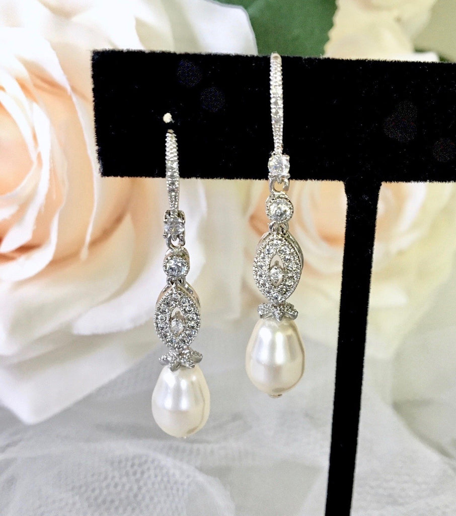 Wedding Jewelry - Swarovski Pearl and Cubic Zirconia Bridal Earrings