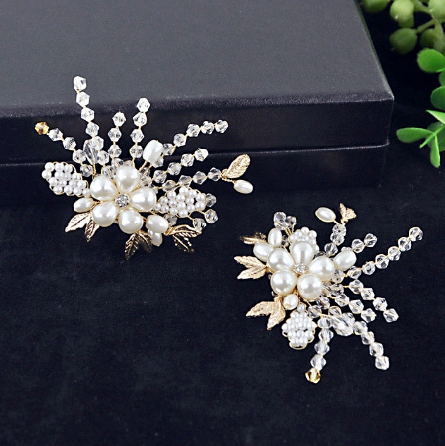 Wedding Accessories - Pearl and Crystal Gold Bridal Shoe Clips