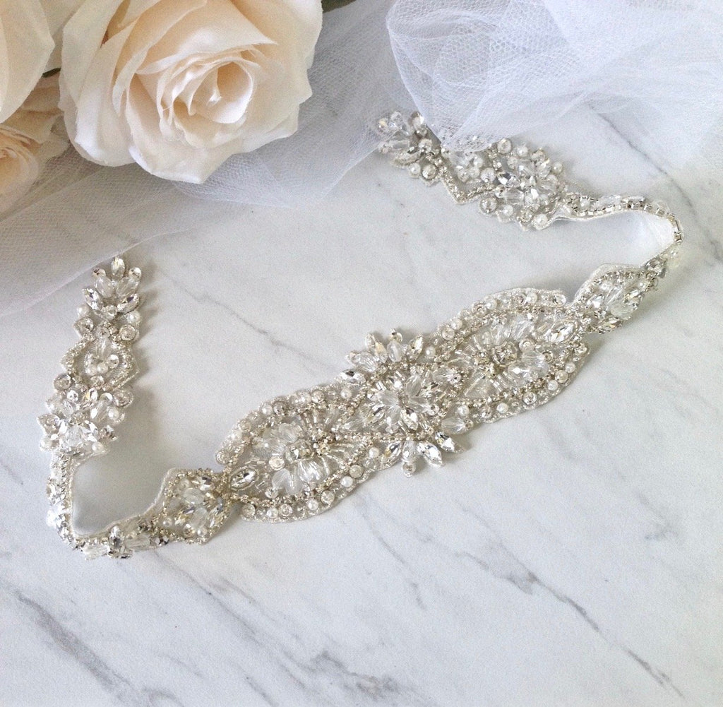Wedding Accessories - Silver Crystal and Pearl Bridal Belt/Sash