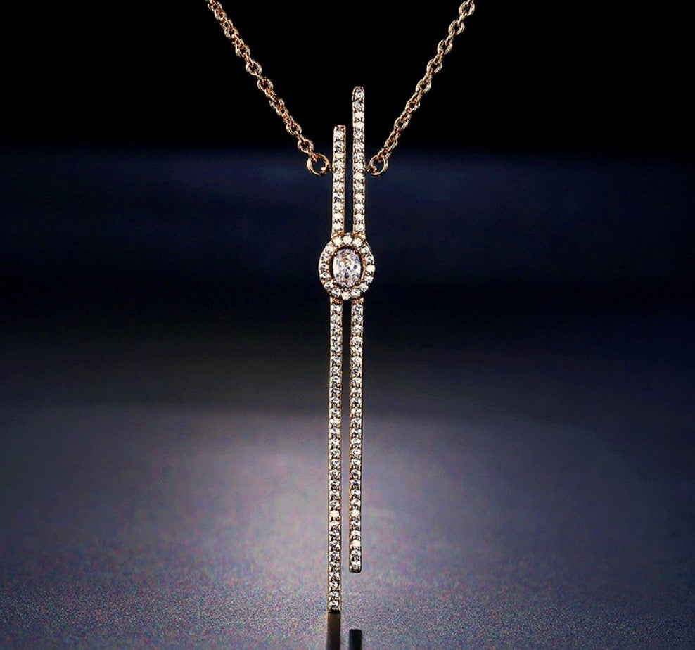 wedding Jewelry - Cubic Zirconia Bridal Necklace - Available in Silver, Rose Gold and Yellow Gold