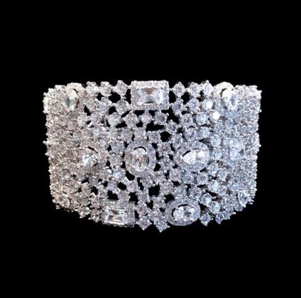Wedding Jewelry - Cubic Zirconia Bridal Cuff Bracelet