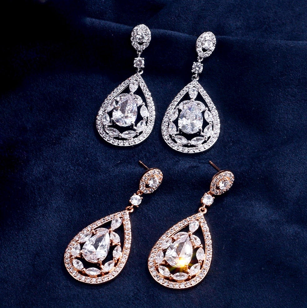 Wedding Jewelry - Cubic Zirconia Bridal Earrings - Available in Rose Gold and Silver