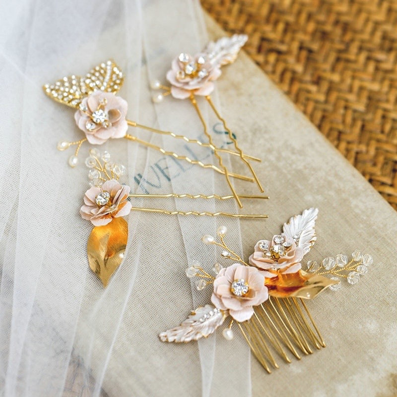 Wedding Hair Accessories - Bohemian Gold Bridal Headband, Hair Comb and Hair Pins Set