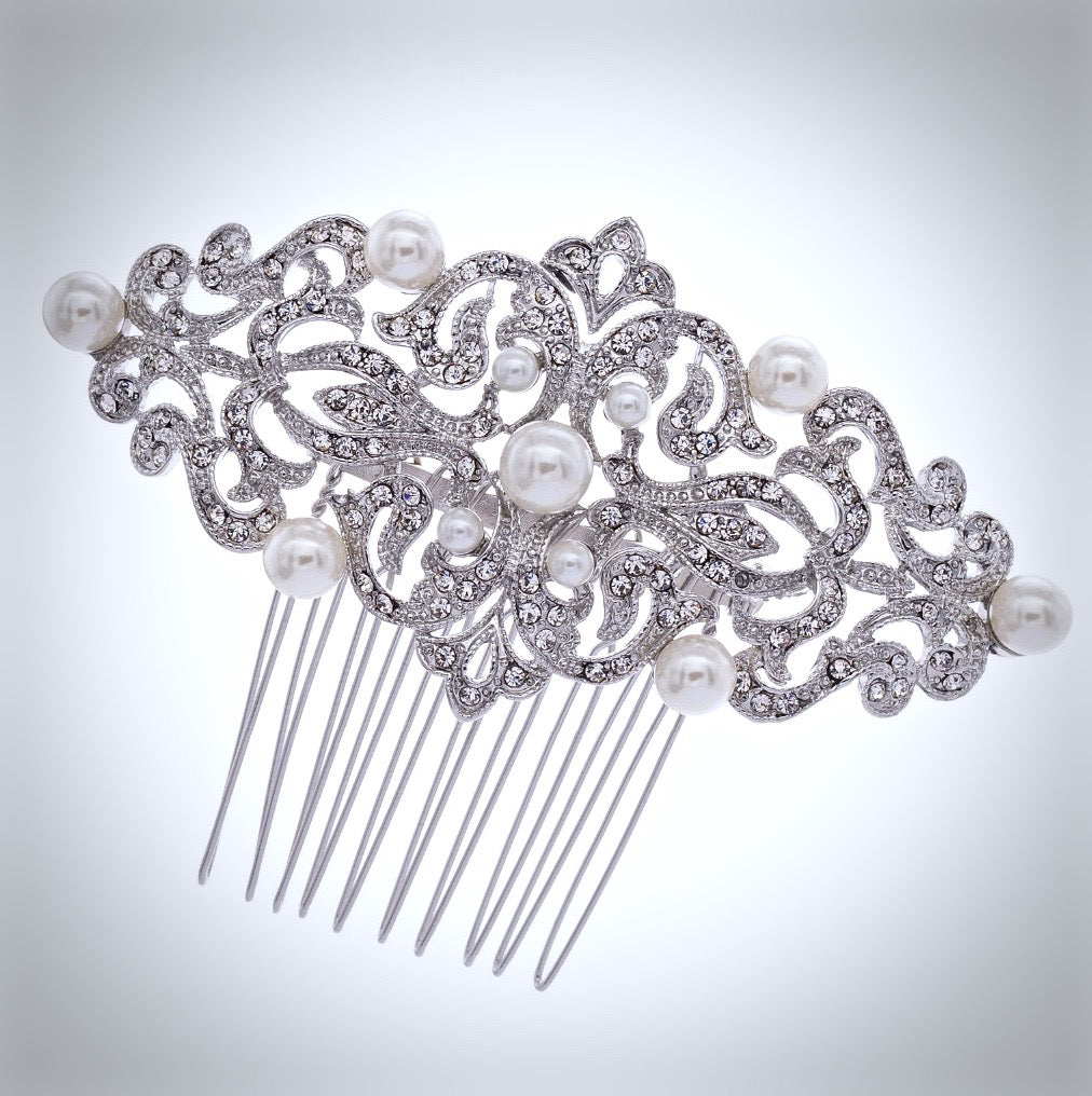 Wedding Hair Accessories - Vintage Pearl and Crystal Bridal Hair Comb