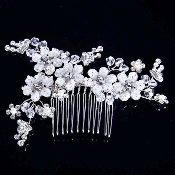 """Carmen"" - Silver Pearl and Crystal Bridal Hair Comb"