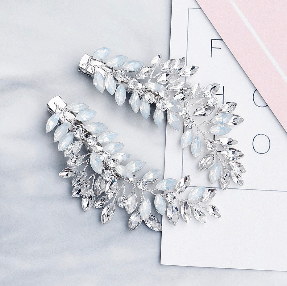 Wedding Hair Accessories -  Opal Bridal/Bridesmaid Hair Clips