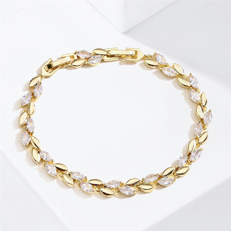 Wedding Jewelry - Cubic Zirconia Bridal Bracelet - Available in Silver and Rose Gold