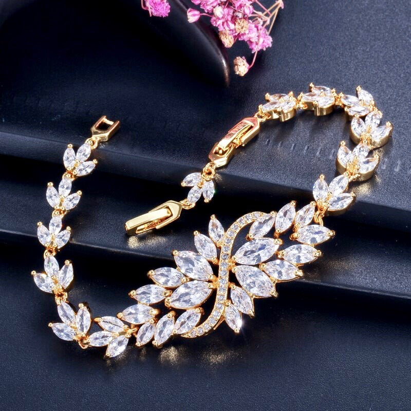 Wedding Jewelry - Cubic Zirconia Bridal Bracelet - Available in Yellow Gold, Silver and Rose Gold