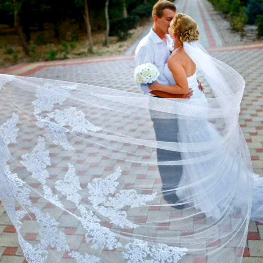 Wedding Veil - Lace Edge Cathedral Length Bridal Veil