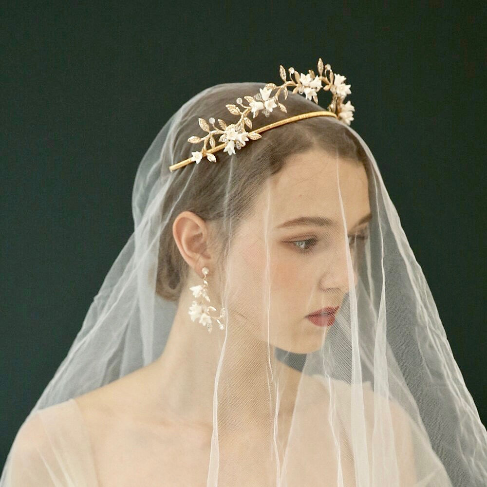 Wedding Hair Accessories - Gold Bridal Ceramic Flowers Double Tiara