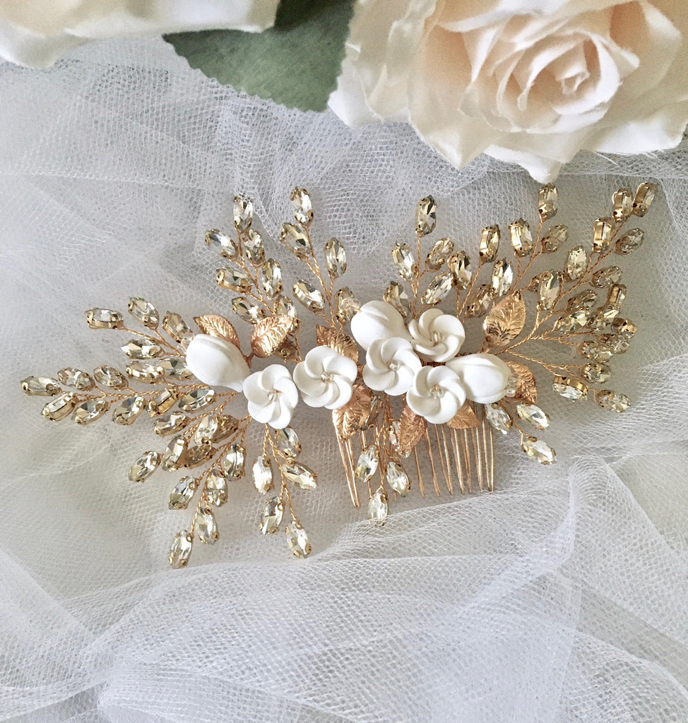 Wedding Hair Accessories - Ceramic Flowers Bridal Hair Comb - Available in Silver, Rose Gold and Yellow Gold