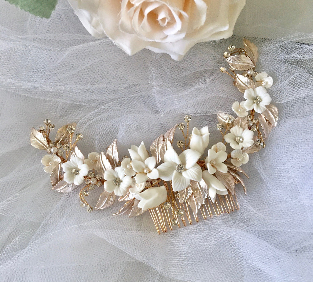 Wedding Hair Accessories - Rose Gold Ceramic Flowers Silver Bridal Hair Comb / Vine