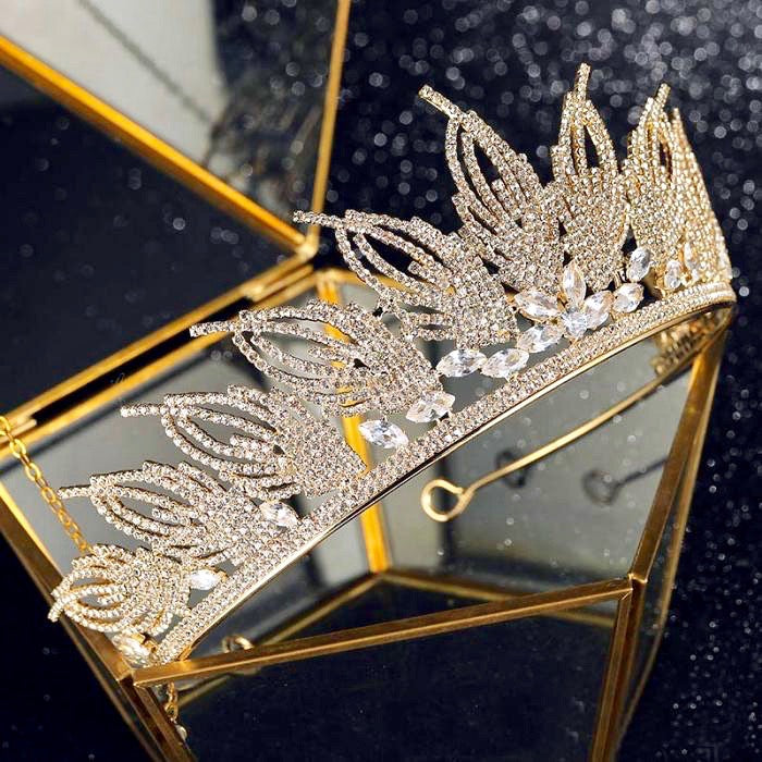 Wedding Hair Accessories - Cubic Zirconia Bridal Tiara - Available in Silver and Gold
