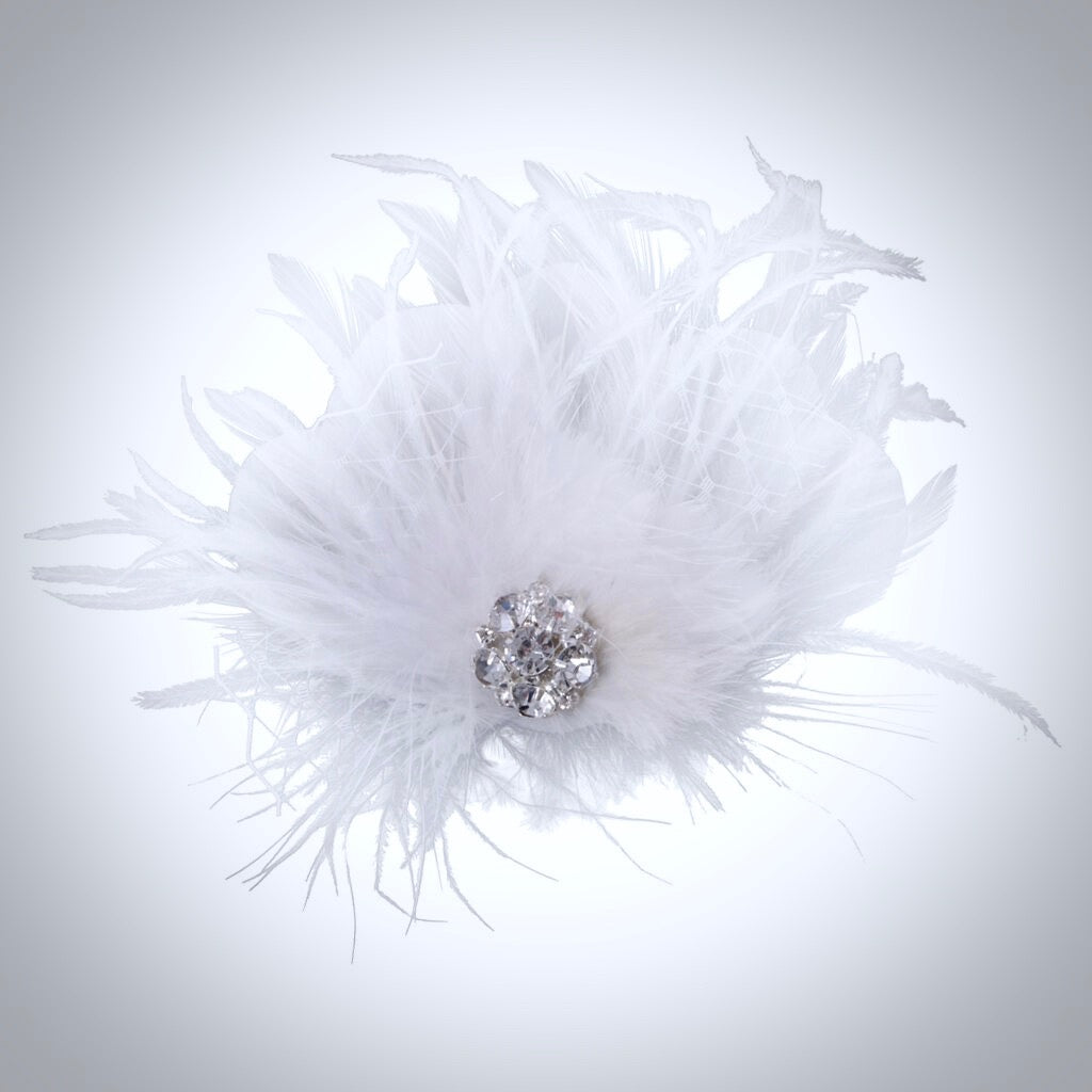 """Shirley"" - 1920s Style Feather Bridal Hair Clip"