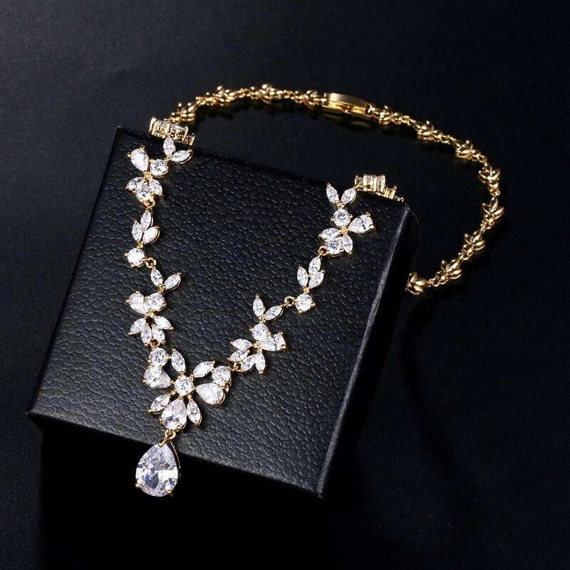 Wedding Jewelry - Cubic Zirconia Bridal Jewelry Set - Available in Silver, Yellow Gold and Rose Gold